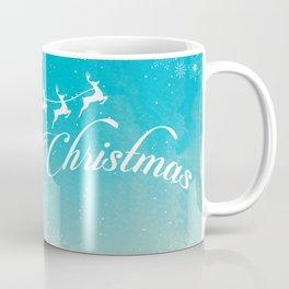 Merry Christmas Illustration, Santa and flying reindeers in the Sky Coffee Mug