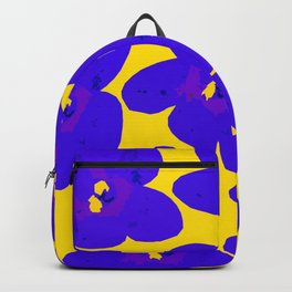 Blue Retro Flowers Yellow Background #decor #society6 #buyart Backpack