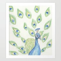 Watercolour Peacock Art Print