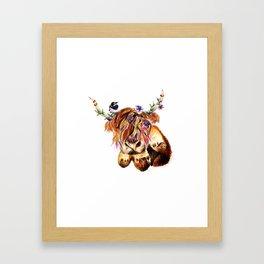 sunset highland cow Framed Art Print