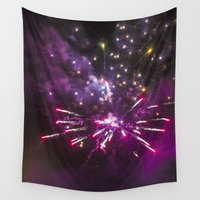 fireworks Wall Tapestries featuring Fireworks 9 by Veronika