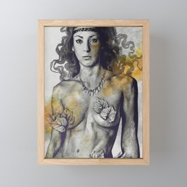 Colony Collapse Disorder: Gold (nude warrior woman with autumn leaves) Framed Mini Art Print