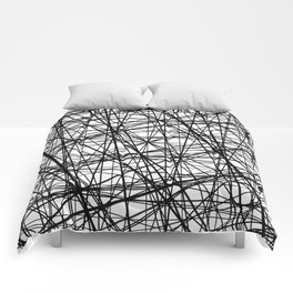 Geometric Collision - Abstract black and white Comforters