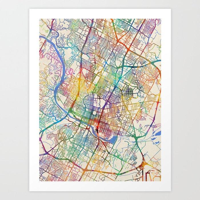 Map Of Texas City.Austin Texas City Map Art Print By Artpause