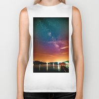 milky way Biker Tanks featuring Milky Way over Water by 2sweet4words Designs