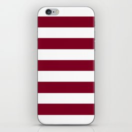 Burgundy - solid color - white stripes pattern iPhone Skin