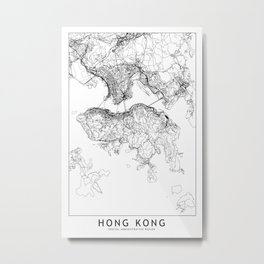 Hong Kong White Map Metal Print