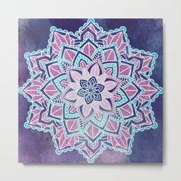 Blueberry Sorbet Mandala Metal Print