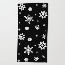 Snowflakes | Black & White Beach Towel