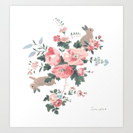 French Flowers and Bunnies Art Print