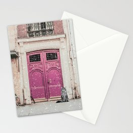 Romantic Pink Door Snowy Photography Stationery Cards
