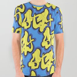 Stay Graffiti Pattern - Blue Honey All Over Graphic Tee