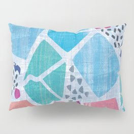 Abstract pattern in blue, pink and green pastel colors Pillow Sham
