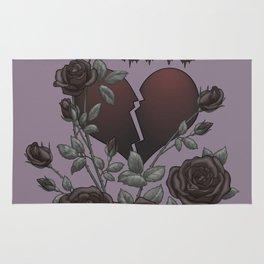 Black Roses Broken Heart Lost Love Rug