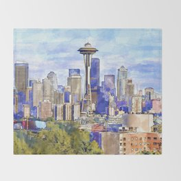 Seattle View in watercolor Throw Blanket