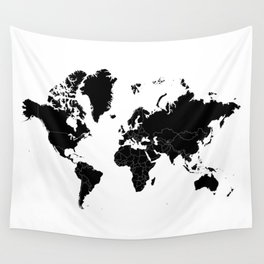 Minimalist World Map Black on White Background Wall Tapestry