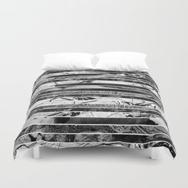 Black And White Layered Collage - Textured, mixed media Duvet Cover