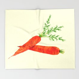 orange carrot watercolor painting Throw Blanket
