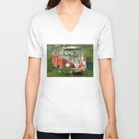 volkswagon V-neck T-shirts featuring VW Bus in the Woods by Barb Laskey Studio
