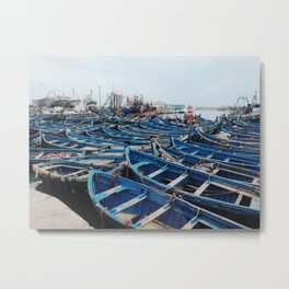 Blue Boats in Essaouira 2 Metal Print