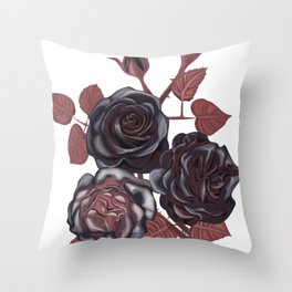 Black roses - Vintage rose print Throw Pillow