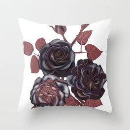 Black roses - Vintage rose print Throw Pillow