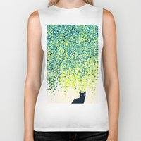 budi Biker Tanks featuring Cat in the garden under willow tree by Picomodi