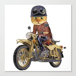 Cat riding motorcycle Canvas Print