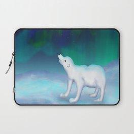 Polar bear under the northern lights Laptop Sleeve