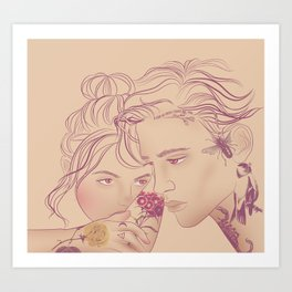 portrait of couple with tattoos Art Print