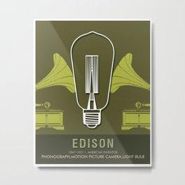 Science Posters - Thomas Alva Edison - Inventor Metal Print