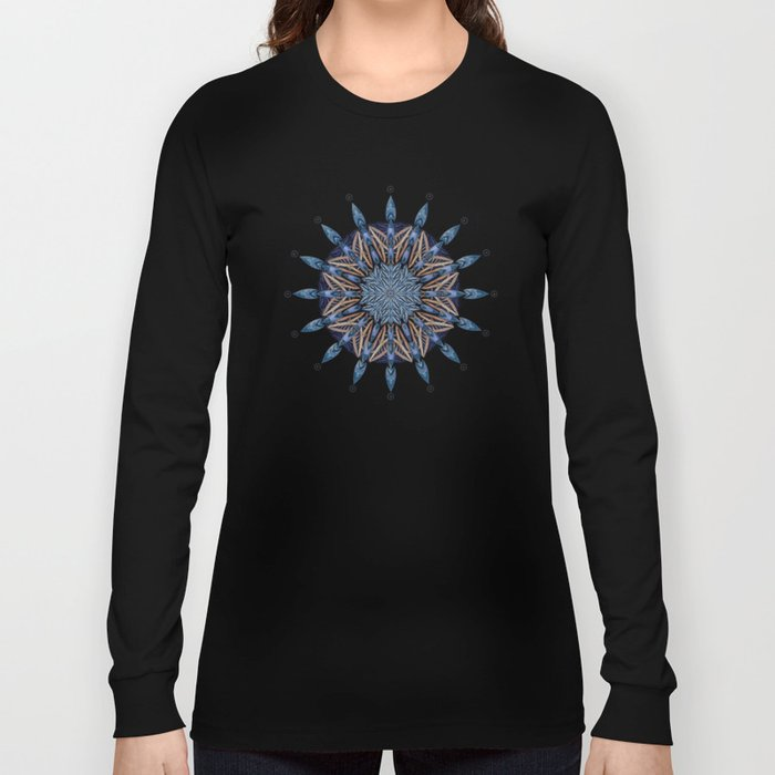 Sphinx Moth Pattern In Blue Long Sleeve T-shirt