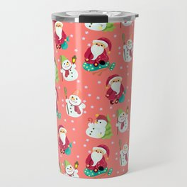 Pink Winter Forest with Cute Snowmen and Santas Travel Mug