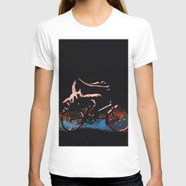Riding a bike in dress T-shirt