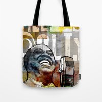 louis armstrong Tote Bags featuring Louis Armstrong: Hello Dolly! by Ed Pires