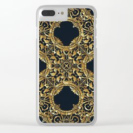 Black Gold Rococo Pattern Clear iPhone Case