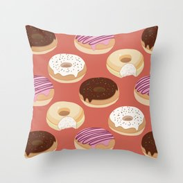 Donuts (Red) Throw Pillow
