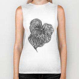 Midori Anthurium Pencil Drawing Black White Heart Biker Tank