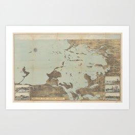 Vintage Pictorial Map of Boston Harbor (1879) Art Print