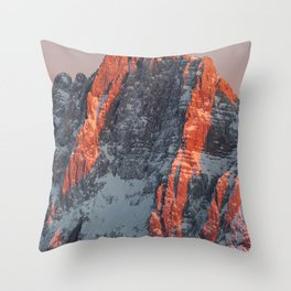 Sun light on snowy mountains Throw Pillow