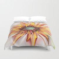 sunflower Duvet Covers featuring Sunflower by Klara Acel