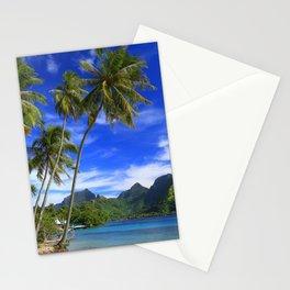 Moorea Island Ocean beach tropical islands palm trees French Polynesia Taahiamanu Beach Stationery Cards