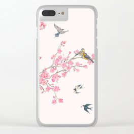 Birds and cherry blossoms Clear iPhone Case