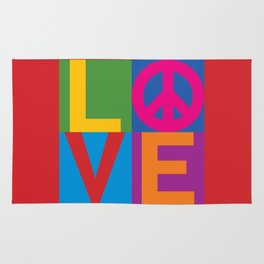 Love Peace Color Blocked Rug