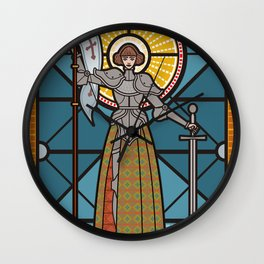 joan of arc medieval female girl woman saint warrior knight Wall Clock