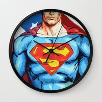 man of steel Wall Clocks featuring Man of Steel by Dave Franciosa
