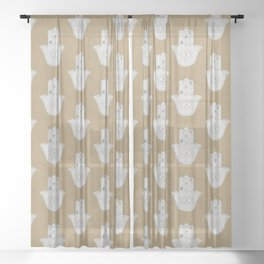 Hamsa Hand pattern print Cool Boho Hipster style in pale blue and tan Sheer Curtain