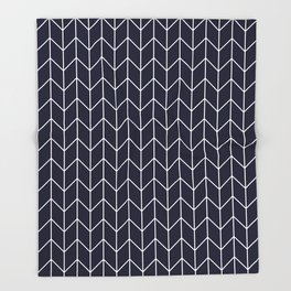 Chevron pattern -  white on darkblue Throw Blanket