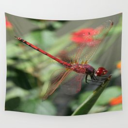 Red Skimmer or Firecracker Dragonfly Wall Tapestry