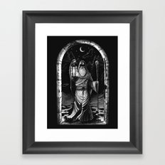 IX. The Hermit Tarot Card Illustration Framed Art Print
